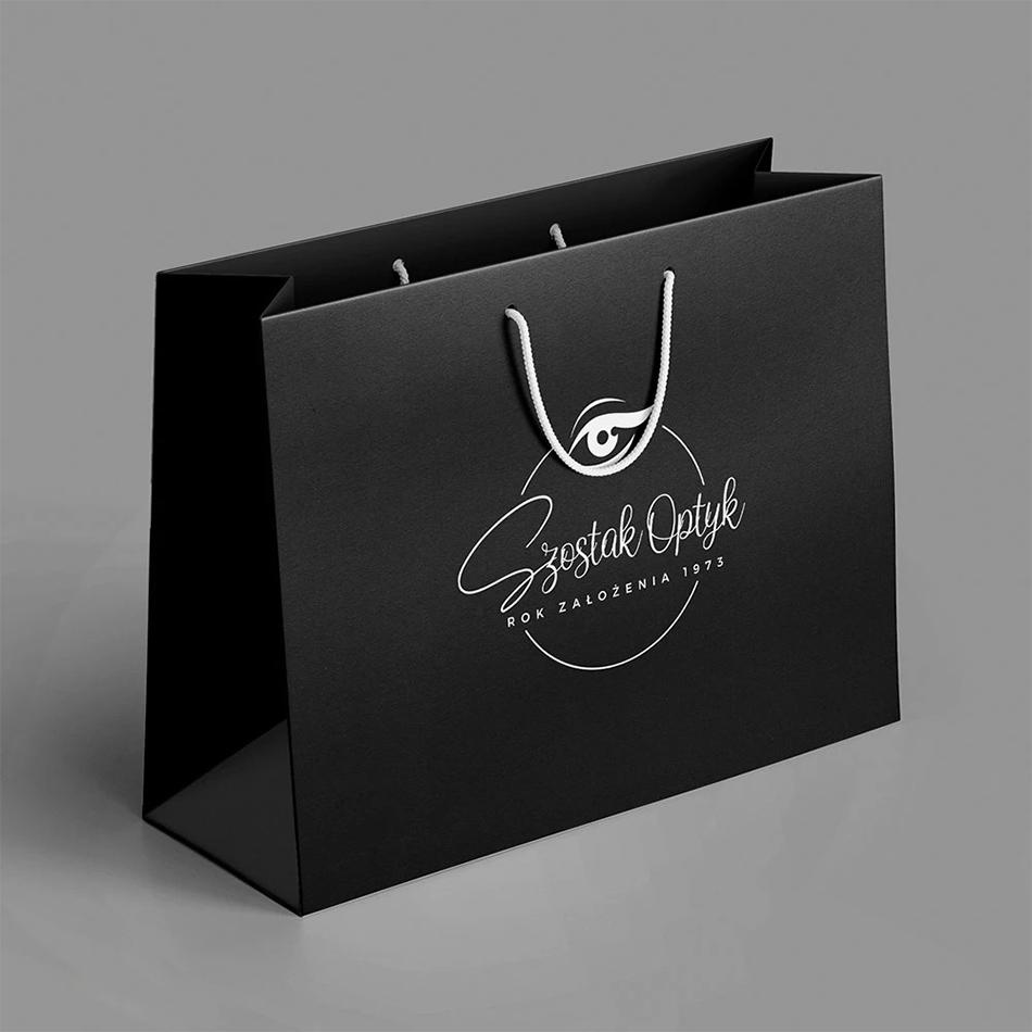 torby reklamowe papierowe z nadrukiem logo czarne